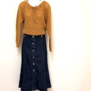 Vtg Hand-knit wool blend mustard sweater SZ SM/MED